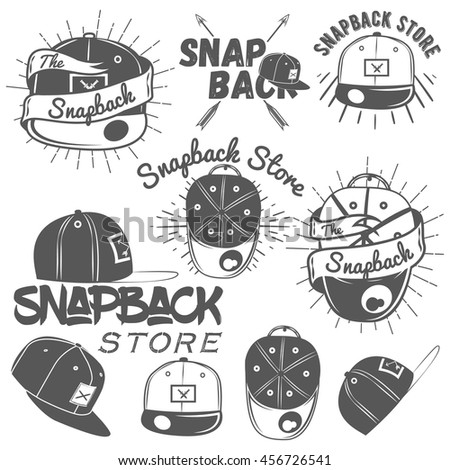 Set of snapback store labels in vintage style. Design elements, icons, logo, emblems and badges isolated on white background. Flat cap hats concept illustration.