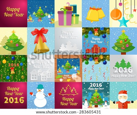 Set of snowflake and New Year 2016 greeting card with decorated christmas tree, snowmans and gifts against the background of glowing cards. Raster version - stock photo
