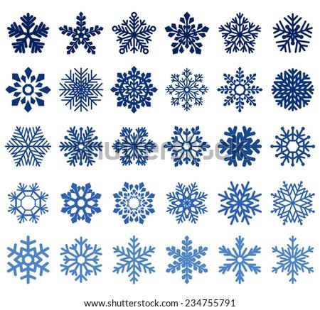 set of snowflakes - stock photo