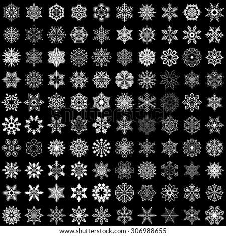 Set of snowflakes isolated on black background. 100 snowflake shapes. - stock photo