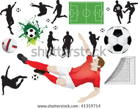 Set of soccer elements including silhouettes and players