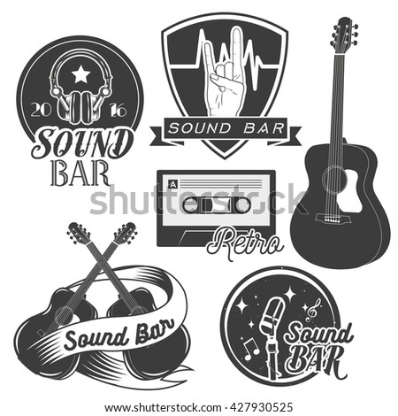 Set of sound recording studio labels in vintage style. Rock music instruments, cassette tape, guitar isolated on white background. Design elements, emblems, badges, logo and icons. - stock photo