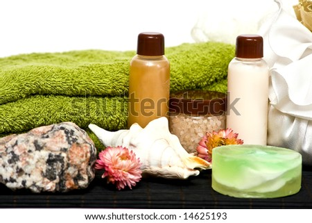 set of spa cosmetics for shower and bath - stock photo