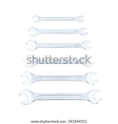 Set of spanners isolated on white background - stock photo