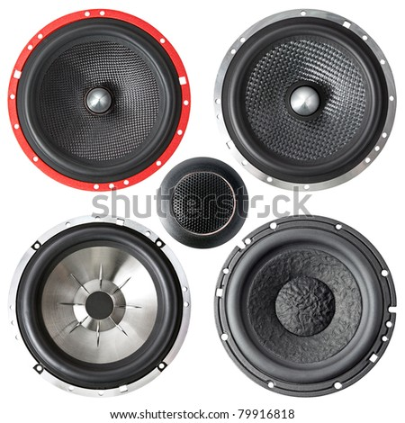 set of speakers isolated on a white background - stock photo