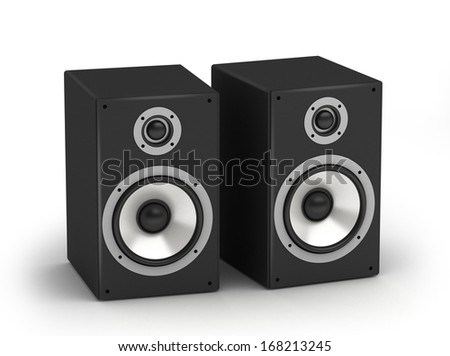 Set of speakers stereo hi-fi audio system on white background - stock photo