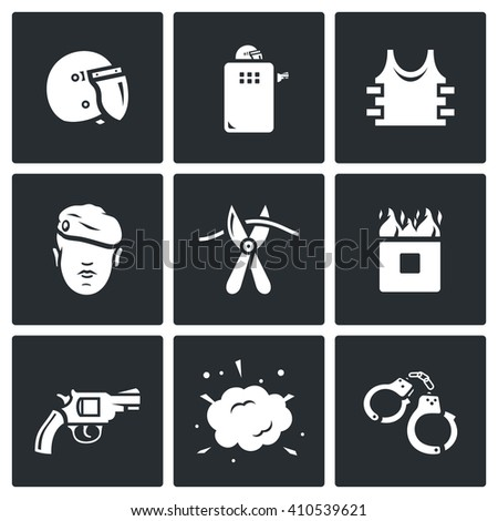 Set of Special Forces Icons. Uniform, Soldier, Sabotage, Obstacle, Course, Weapon, Undermining, Arrest. Helmet, Shield, Body armor, Man, Cutters, Burning Wall, Revolver, Explosion, Handcuffs - stock photo