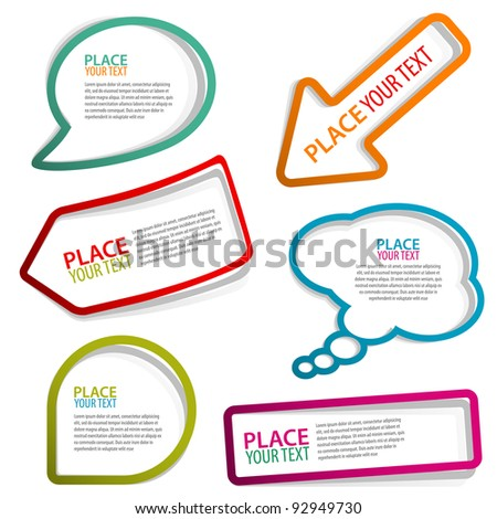 Set of speech and thought bubbles, element for design, raster version - stock photo