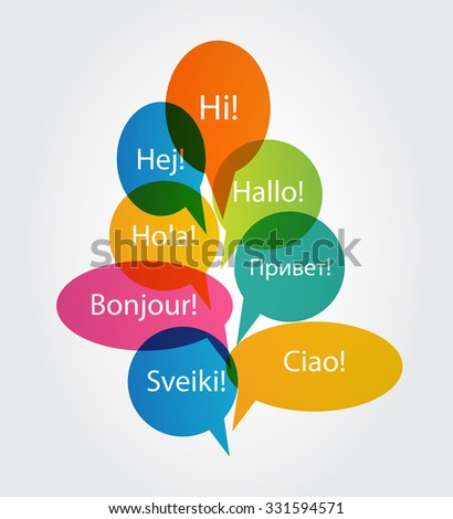 Set of Speech Bubble with Hello Word on Different Languages (Danish, Spanish, Russian, English, German, Italian, Lithuanian, French) Illustration