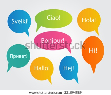 Set of Speech Bubble with Hello Word on Different Languages (Danish, Spanish, Russian, English, German, Italian, Lithuanian, French) Illustration  - stock photo