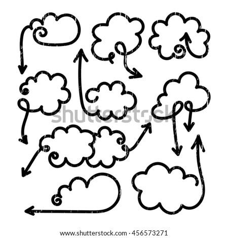 Set of speech bubbles with arrows. Empty cloud citation template. Grunge design element for business card, paper sheet, information, note, message, motivation, comment.  - stock photo