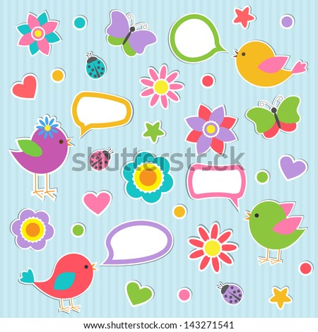 Set of speech bubbles with cute birds. Raster version - stock photo