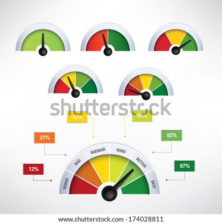 Set of speedometer buttons with one to six fields and additional explanation boxes - raster version of vector illustration - stock photo