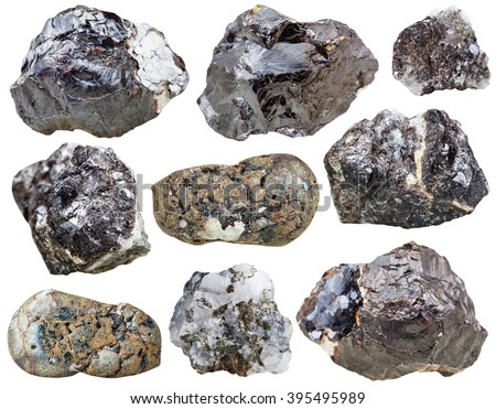 set of Sphalerite rocks and polished mineral stones isolated on white background