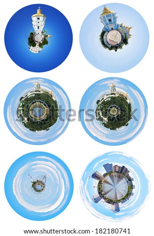 set of spherical panoramic views of Kiev landmarks, Ukraine - stock photo