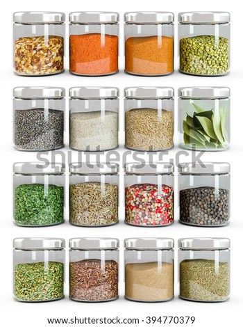 Set of spices in glass bottles, isolated on white background - stock photo