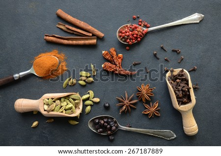 Set of spices on a table - stock photo