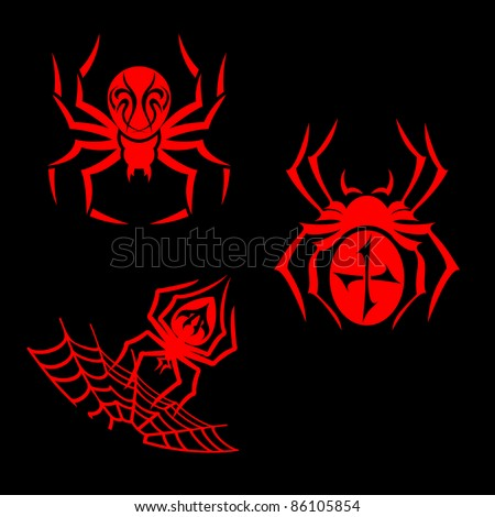 Set of spiders for tribal tattoo design. Vector version also available in gallery