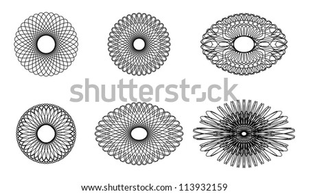 Set of spirograph elements for design on a white background - stock photo