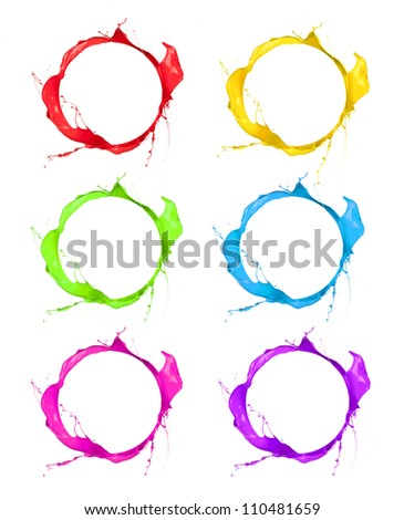 Set of splashes paints shots, isolated on white background - stock photo