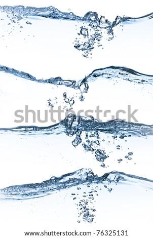 set of splashing water with bubbles on white background - stock photo