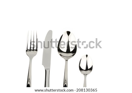 set of spoon fork and knife isolated over white background