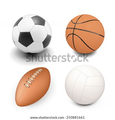 Set of sport ball isolated on white background. Volleyball ball, soccer ball, rugby ball, basketball. - stock photo