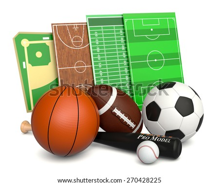 set of sport balls and fields, soccer, basketball, football and baseball (3d render) - stock photo