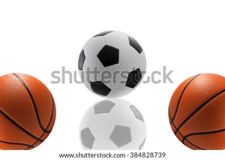 Set of sport balls, basketball and football on white background