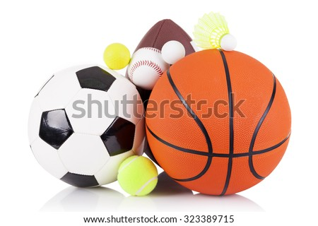 Set of sport balls isolated on white background - stock photo