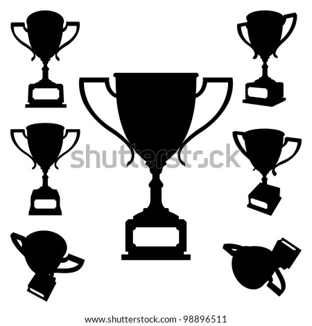 Set of Sport Cups Silhouettes on White Background. Rasterized Version - stock photo