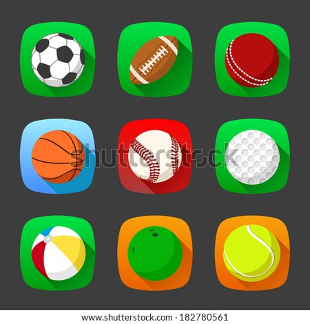 Set of sport icons in flat style