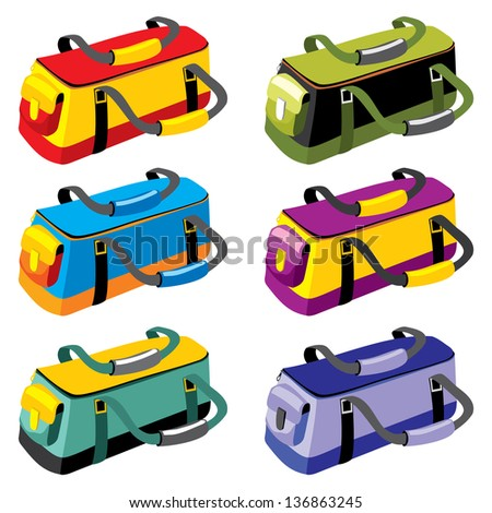 set of sports bags in different colors