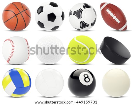Set of sports balls, soccer, basketball, rugby, tennis, volleyball, hockey, baseball, billiards, golf, puck. 3d illustration