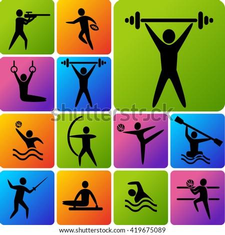 Set of sports icons. - stock photo