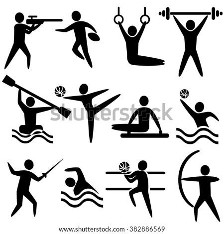 Set of sports icons: shooting, rugby, gymnastics, American, football, power lifting, kayaking, canoeing, barbell, weightlifting, water polo, archery, fencing, swimming, volleyball. Sport icons set Jpg - stock photo