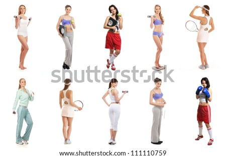 Set of sporty girls isolated on white - stock photo