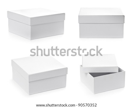 Set of square pasteboard gift boxes isolated on white background with clipping path. Different views. - stock photo