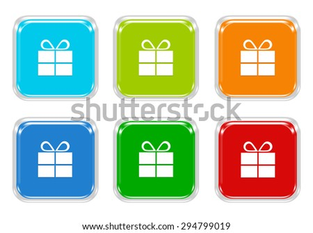 Set of squared colorful buttons with gift symbol in blue, green, red and orange colors - stock photo
