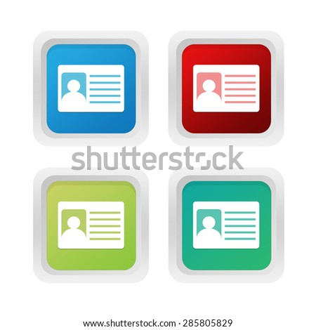 Set of squared colorful buttons with identification card symbol in blue, green and red colors - stock photo