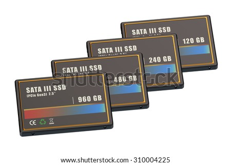 Set of SSD (solid state drives) isolated on white background
