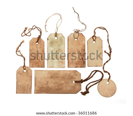 Set of stained tags with strings - stock photo