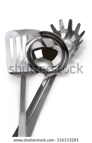 set of stainless steel kitchenware - stock photo
