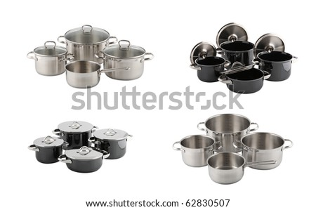 set of stainless steel pots isolated on white - stock photo