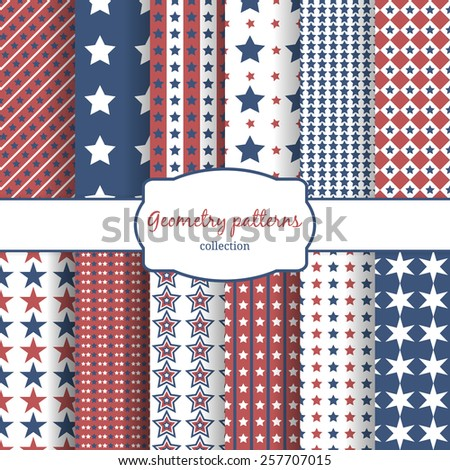 Set of stars and stripes patterns. Row, line and diagonal and geometry