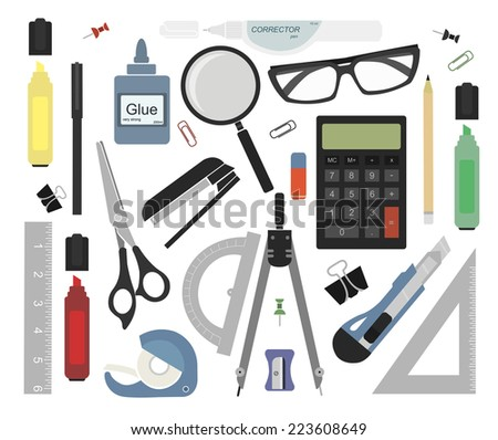 Set of stationery tools: marker, paper clip, pen, binder, clip, ruler, glue, zoom, scissors, scotch tape, stapler, corrector, glasses, pencil, calculator, eraser, knife, compasses, protractor - stock photo