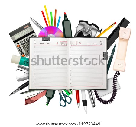 Set of stationery with business diary on top isolated on white - stock photo