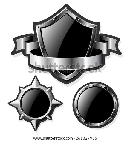 Set of steel glossy shields isolated on white.  Raster version of the illustration. - stock photo