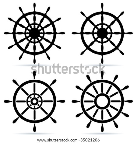 Set of steering wheels isolated on white - raster image. Vector format in EPS is also available in my gallery. - stock photo