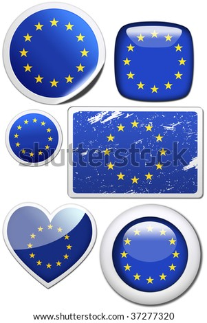 Set of stickers and buttons - European Union - stock photo